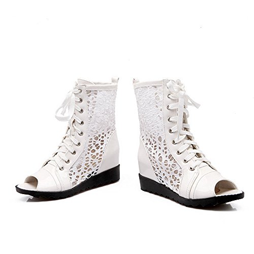 AmoonyFashion Womens Peep-Toe Kitten-Heels Soft Material Solid Lace-up Sandals White O9eJCkMks6