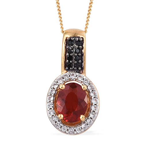 Sterling Silver Vermeil Yellow Gold Plated Cherry Fire Opal Zircon Halo Pendant Necklace 20