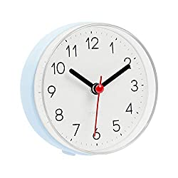 mooas 2WAY Silent Waterproof Bathroom Clock, Shower Clock, Wall Clock (Blue)
