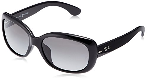 - Ray-Ban Women's RB4101F Jackie Ohh Asian Fit Sunglasses, Black/Polarized Grey Gradient, 58 mm