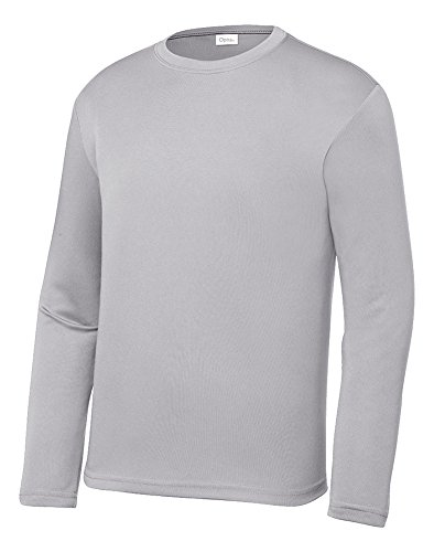 Opna Youth Athletic Performance Long Sleeve Shirts for Boy's or Girl's - Moisture Wicking Silver