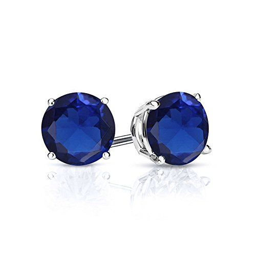 Gem Stone King 925 Sterling Silver Blue Simulated Sapphire Stud Earrings 3.34 Ctw Round Cut 7MM