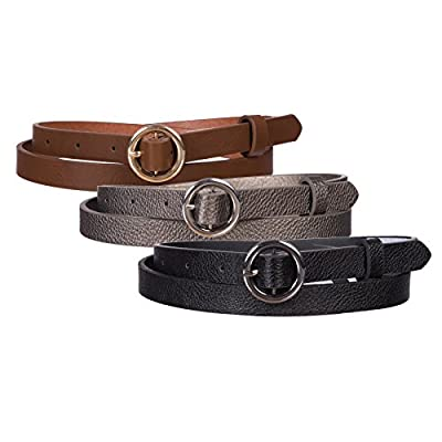 "Sunny Belt Girls 3 Pack of 1/2"" Wide Faux Leather Belts In An Assortment Of Colors & Styles"