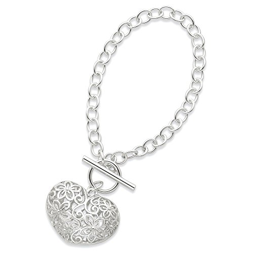 Sterling Silver Polished Filigree Puffed Heart Toggle Bracelet Length 7.25 Inch ()