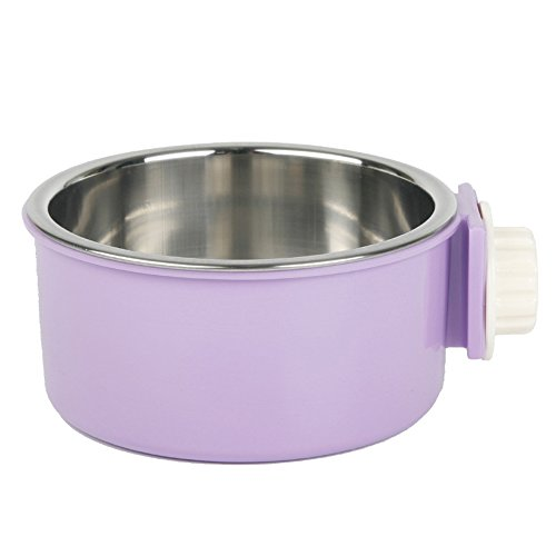 Guardians Stainless Steel Dog Bowl Removable Hanging Food Water Pets Cage Coop Cup Large Cat Puppy Birds Food Bowl with Bolt Holder