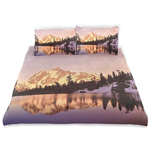 YCHY Decor Duvet Cover Set, Snow Capped Mt Shuksan and Lake at Sunset Evening National Forest Washington A Decorative 3 Pcs Bedding Set with Pillowcases, Queen/Full