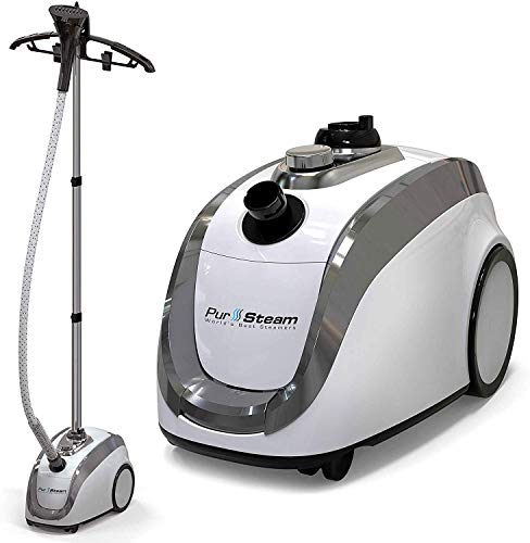 PurSteam - 2020 Official Partner of Fashion - Full Size Steamer for Clothes, Garments, Fabric - Professional Heavy Duty - 4 Steam Levels Producing Perfect Continuous Steam