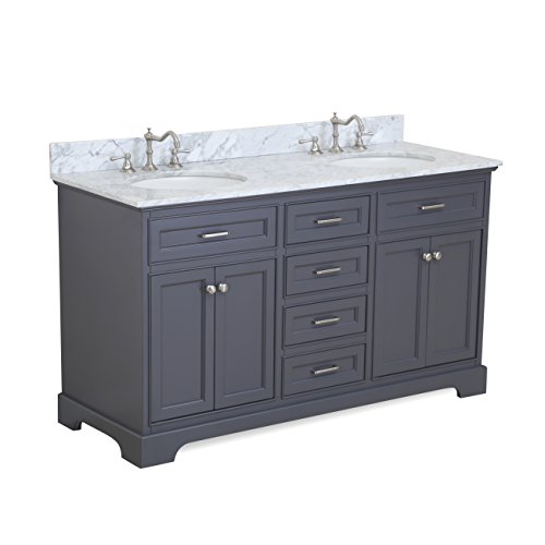 Aria 60-inch Double Bathroom Vanity (Carrara/Charcoal Gray): Includes a Charcoal Gray Cabinet with Soft Close Drawers, Authentic Italian Carrara Marble Countertop, and White Ceramic - Double Drawers Three Vanity Sink