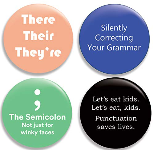 - Funny Grammar Pinback Buttons/Pins (2.25 inches) Set of 4