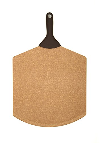 Epicurean Pizza Peel with Silicone Handle, 21-Inch by 14-Inch, Natural with Brown Handle
