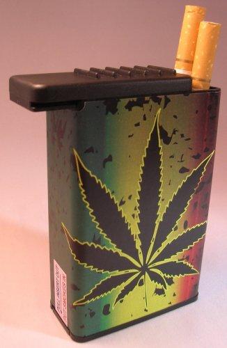 Flat Slide Top Cigarette Case Marijuana Pot Plant Weed