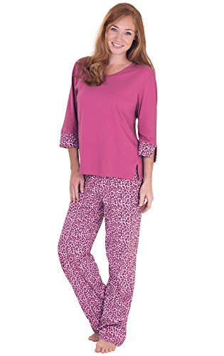 PajamaGram Women Pajamas Set Leopard - Ladies Pajamas, Raspeberry, M, 8-10 Raspberry