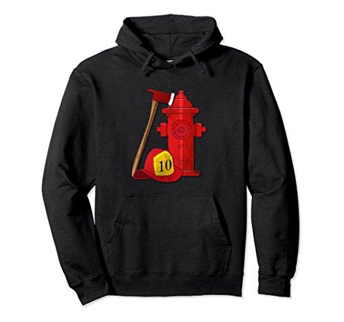 Firefighter Adult Hoody Sweatshirt (Unisex Firefighter Hoodie Sweatshirt Firefighter Axe Helmet Hydrant XL: Black)