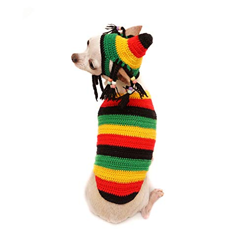 Tonimoz Bob Marley Handmade Dog Costumes Crochet, Bob Marley Dog Clothes, Bob Marley Dog Hat, Rasta Dog Hat, Dread Lock Dog Wig F117 (Medium)]()