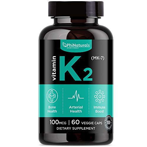 Vitamin K2 MK-7 100mcg 60 Capsules by Phi Naturals for sale  Delivered anywhere in Canada