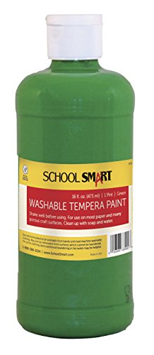 School Smart Non-Toxic Washable Tempera Paint, 1 pt Plastic Bottle, Green