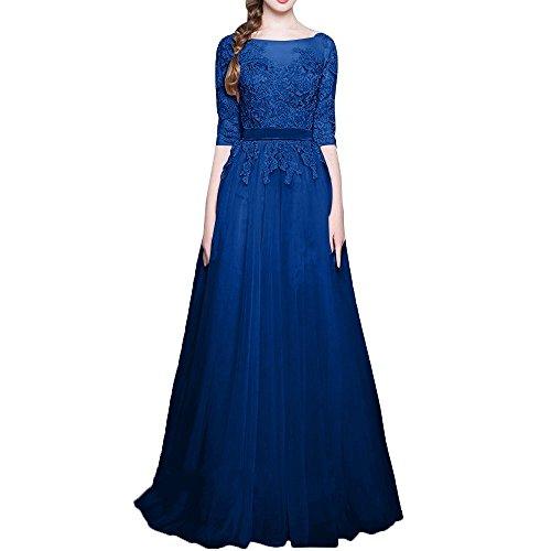 A Langarm Partykeider Abendkleider Lang Charmant Blau Linie Royal PromkleiderWadenlang Stickreien Damen Beliebt Rock Rosa 8qx8wISFT
