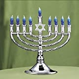 Lighted Silver Chanukah Menorah with Blue Bulbs, 13-5/8 in. x 14 in