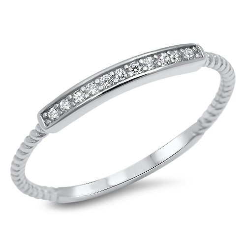 Vintage Unique Style Womens Ring Rope Band with Clear Cubic Zirconia Everyday Jewelry Size 10