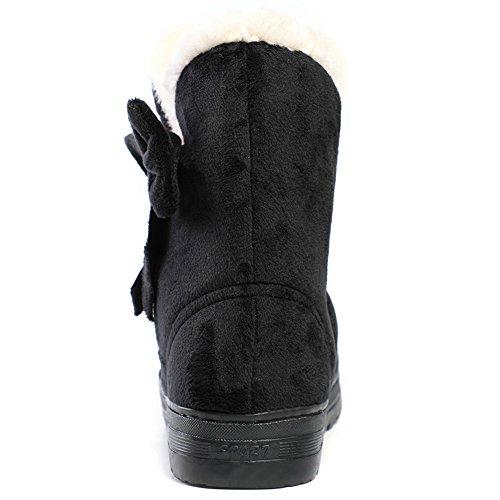 Bottes De Neige Hiver Femme Bottes Chaudes Avec La Taille De Larc 4.5 5.5 7.5 9 Noir