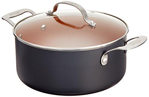 GOTHAM STEEL 5-Quart Stock Pot with Ultra Nonstick Ceramic 5 Quart, Brownish