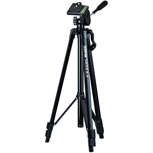 Sunpak 5400DLX Tripod with 3-Way, Pan-and-Tilt Head for Cameras, Camcorders, Smartphones and GoPro (Sunpak 3 Pin)