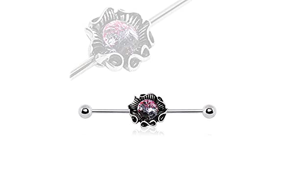 Covet Jewelry 316L Stainless Steel Industrial Barbell with Glass Stone Giant Seashell