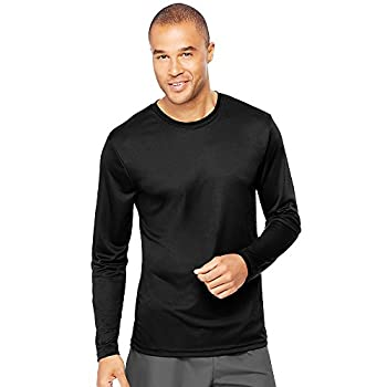- 412NgSTnQ2L - Hanes Men's Long Sleeve Cool Dri T-Shirt UPF 50+, X-Small, 2 Pack ,Black