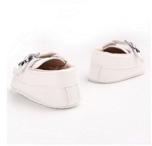 Recién nacido niños niñas zapatos Sneaker suave suela zapatos de bebé rojo rosso Talla:12-18 meses blanco