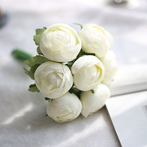 ial Flowers Peony Rose Bouquet Silk Flowers Bridal Bouquet Fall Vivid Fake Flowers for Wedding Home Decoration B White 7pcs ()