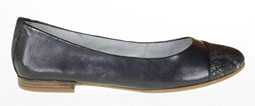 TAMARIS pantofole pelle Ballerina in blu con struttura