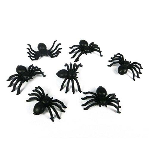 TOOGOO 20pz halloween mini plastica nero ragno luminoso scherzo scherzo giocattoli di compleanno ragni decorativi 2 cm puntelli di ragno del partito 167594