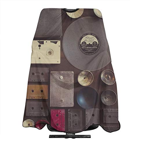 - Music vintage wall with vinyl records and audio cassettes hung Haircut Hairdressing Cape Cloth Apron Hair Styling Hairdresser Cape Barber Salon