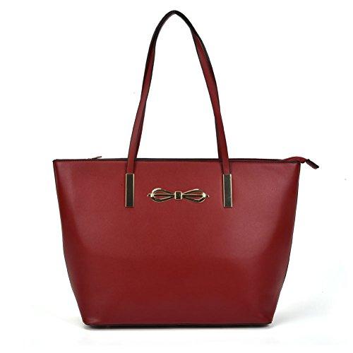 Young Look Red Handbag Shoulder Leather Large Sally Fashion Shopper aqt8da