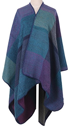 VamJump Women Winter Cashmere Oversized Blanket Poncho Cape Shawl Cardigan Coat