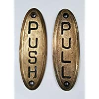"""Hardwarefinds Push Sign and Pull Sign Door Sign Bell Store Art Deco Solid Brass 4"""" #F10"""