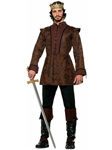 Forum Novelties Men's Medieval King Costume Coat, Brown, (Medieval King Costumes Adults)