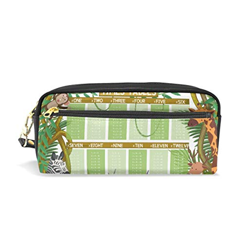 Pencil Case Pen Bag Math Times Table in Jungle Stationery Pouch Cosmetic Makeup Wristlets Bag -
