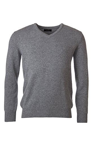Great and British Knitwear Men's 100% Lambswool Plain V Neck Sweater. Made In Scotland-Dove Grey-Medium