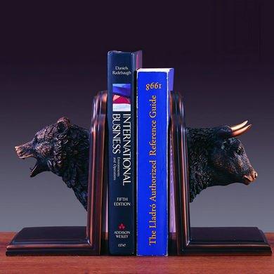 Bronze Plated Resin Sculptures Bear & Bull Head Bookends 9