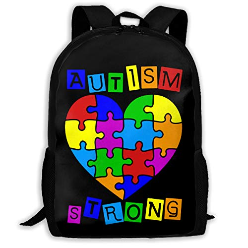 GOBG Autism Heart Puzzle Autism Awareness Durable College Bookbags Water Resistant Bicycle Backpacks
