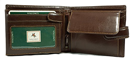 Visconti Monza 5 Quad Fold Soft Leather Italian Glazed Wallet (Brown)