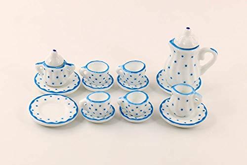 1/12 Dollhouse 15pcs Blue Dots Miniature Porcelain Tableware China Coffee Tea Lid Pot Cups