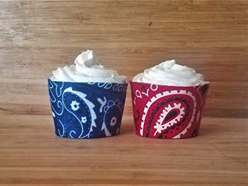 Bandana Cupcake Wrappers, Cowboy Birthday Party Decorations, Country Western Wedding Decorations, Patriotic 4th of July Cupcake Holders Set of 12 Standard Size -