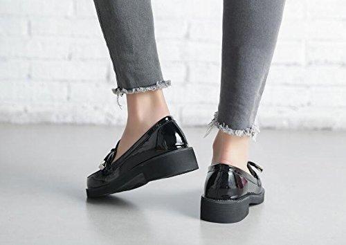 SSBY El Periodo De Primavera Y Otoño Nuevos Productos Zapatos De Cuero Suave Zapatos Zapatos De Cuero Estilo Británico Con Pequeños Ocio. black