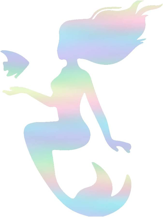 USC DECALS Mermaid and Fish Silhouette (Hologram) (Set of 2) Premium Waterproof Vinyl Decal Stickers for Laptop Phone Accessory Helmet Car Window Bumper Mug Tuber Cup Door Wall Decoration