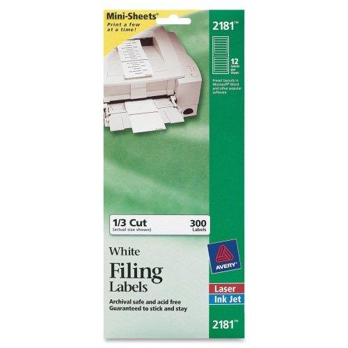 Avery Filing Mini-Sheet Label - 0.66quot; Width x 3.43quot; Length - 300 / Pack - Rectangle - 12/Sheet - Inkjet, Laser - ()