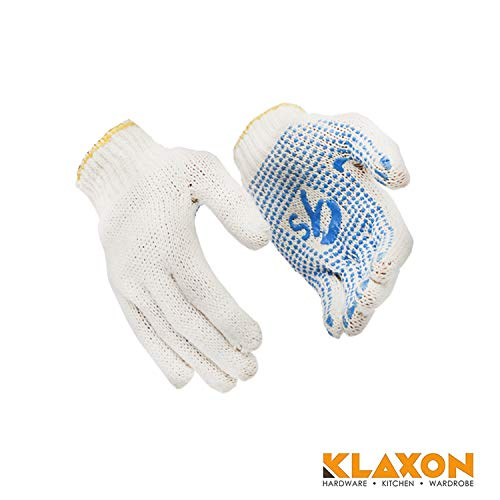 Klaxon Cotton Knitted Hand Gloves with PVC Dots (1 Pair)
