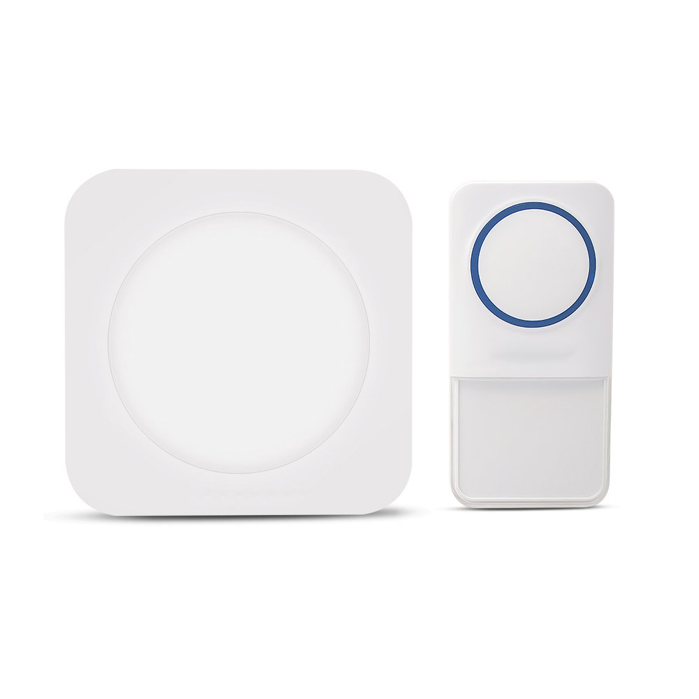 Wireless Doorbell with Night Light, VODESON Waterproof Touch Button Portable 7 Colors LED Light Alarm Door Chime Electronic Remote Control Door Bell System