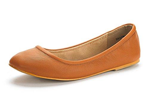 DREAM PAIRS Women's Sole-Fina Tan Solid Plain Ballet Flats Shoes - 6.5 M US